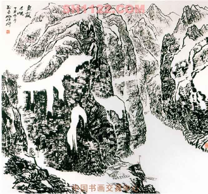 名家 姚伯齐 山水 - 雪落三峡(已被收藏)图片